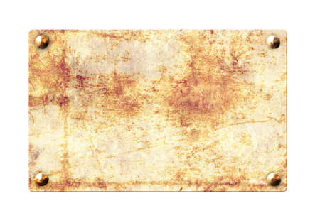 Old metallic plank with rusty texture and vintage nails. Isolated on white background. Mock up template. Copy space for text. 3d render