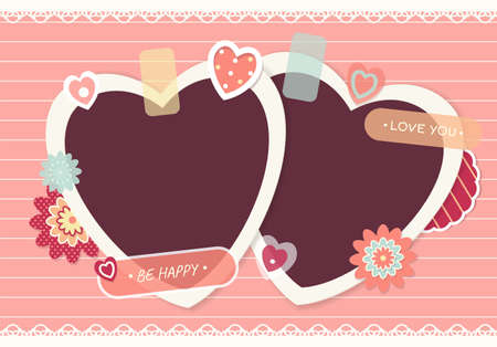 Valentine vintage background with two heart-shaped retro photos, sticker and labels. Mock up template. Copy space for text. Can be used for holiday or wedding scrapbooking design. Vector EPS10