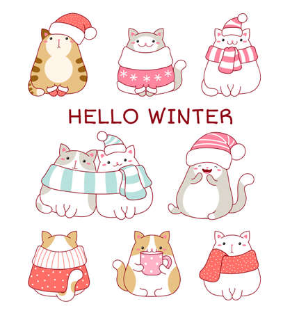 Hello winter. Christmas collection of cute fat cats in scarves and hats. Set of lovely cats in kawaii style. Vector illustration EPS8