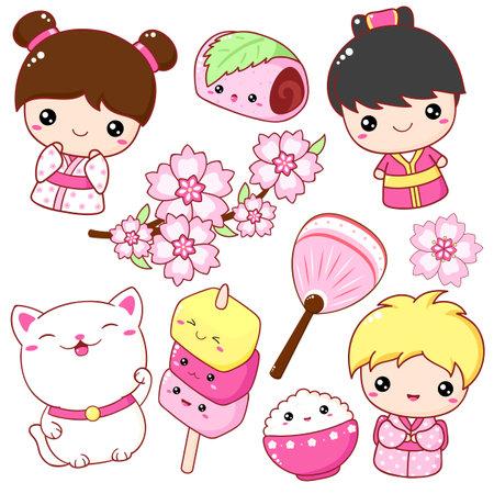 Set of cute icons in kawaii style. Japanese traditional toy kokeshi doll in kimono, maneki neko cat, Sakura Mochi, fan, mochi desserts on sticks. Vector illustration EPS8