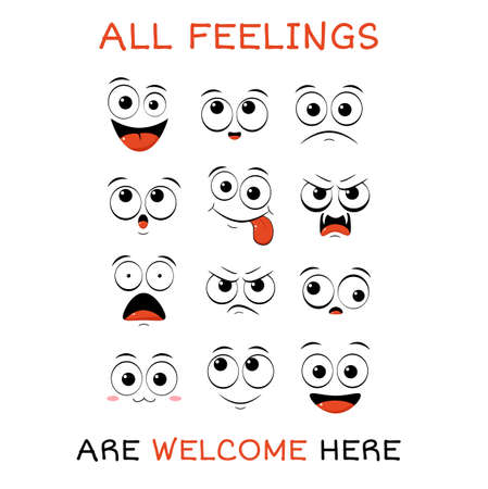 All feeling are welcome here. Vector banner with affirmation for kids playroom. Cute inspirational card with emojis and lettering. Motivational quote for greeting card, invitation, poster, nursery, t-shirt