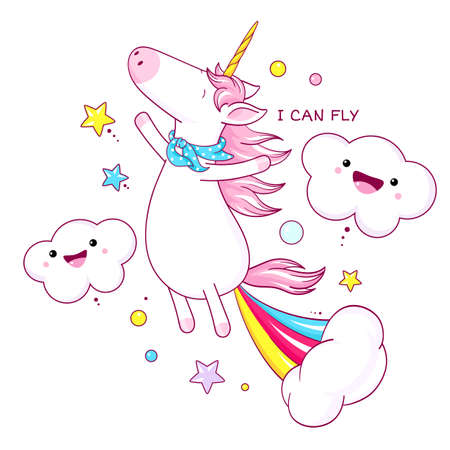 Cute unicorn floating in air and farting with rainbow and smoke exploding out from his bottom. Farting cartoon unicorn and Inscription I can fly.