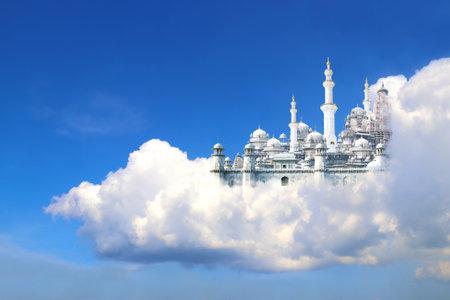 A fabulous lost city in beautiful blue sky with cumulonimbus. Fantasy castle in white clouds Foto de archivo