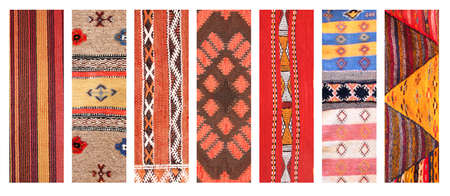 Set of vertical or horizontal banners with textures of berber traditional wool carpet with geometric pattern, Morocco, Africa Stockfoto