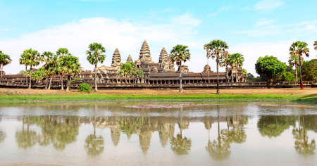 Famous khmer ancient temple complex Angkor Wat (Angkor Thom), Siem reap, Cambodia, Indochina.