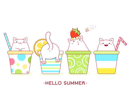Hello summer. Vacations card with cute cats in cocktail cups. Collection of fat cat with different emotion - funny, happy, surprised. Vector illustration
