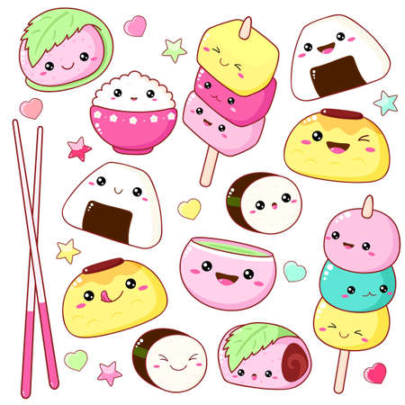Set of cute sushi and rolls icons in kawaii style with smiling face and pink cheeks. Japanese traditional cuisine dishes. Temaki, chopsticks, nigiri, sakura mochi, taiyaki, cap with matcha tea.