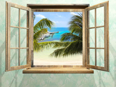 View of ocean through window. Sea view room. Travel, resort, vacation and holiday concept. Beautiful tropical sea view at window in resort. 3d render Reklamní fotografie