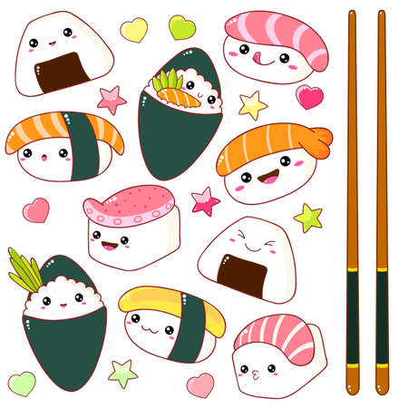 Set of cute sushi and rolls icons in style with smiling face and pink cheeks. Japanese traditional cuisine dishes. Temaki, chopsticks, nigiri, tamago, uramaki, futomaki.