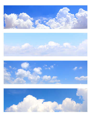 Collection of horizontal banner with nature scenes - white clouds in the blue sky