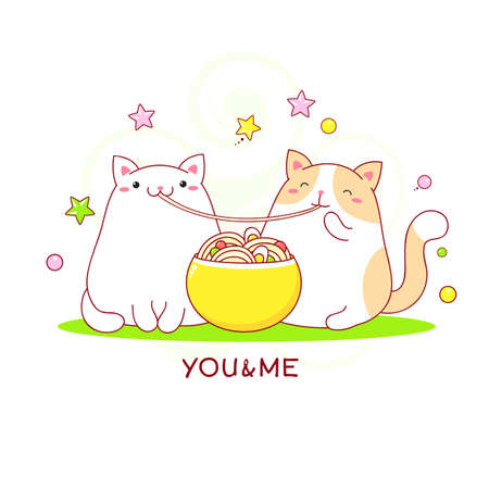 Couple of cute fat cats eat ramen noodles. Inscription You&Me. character for t-shirt print, nursery poster. Vector illustration