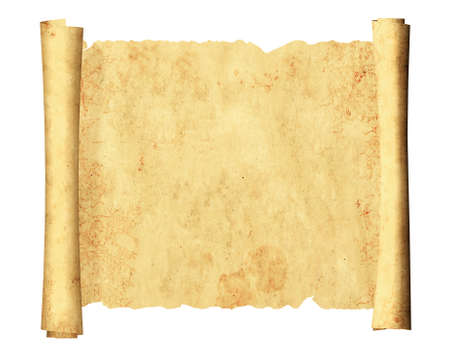 Scroll of old parchments. Isolated on white background. Copy space for your text. Mock up template. 3d render