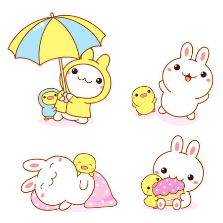 Set of kawaii bunny and duckling. Cute little duck and rabbit friends in raincoats and with an umbrella, sleeping, eating a cupcake, playing. Vector illustration EPS8 Vecteurs