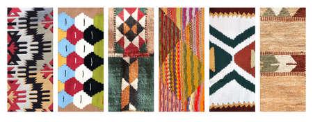 Set of vertical or horizontal banners with textures of berber traditional wool carpet with geometric pattern, Morocco, Africa