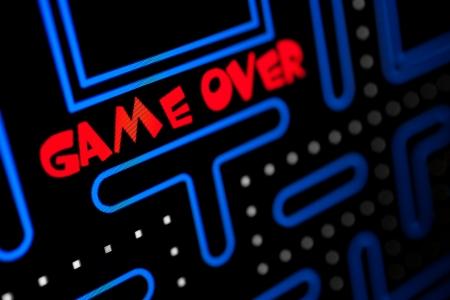 Pantalla que muestra que el juego ha terminado Macro imagen de un videojuego Foto de archivo - 22099050
