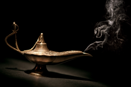 Magical Geni Lamp with Smoke and black background  It