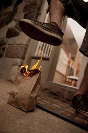 excrement: Well Known Flaming cacca in borsa beffa con un piede pronto a schiacciarla. Archivio Fotografico
