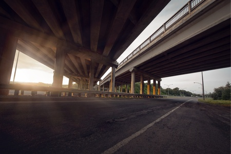 express lane: Concrete road straight line of viaduct in Montreal, Canada outdoor.