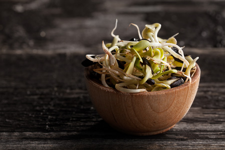 Close-up of Sunflowers Sprouts in a Wooden bowl