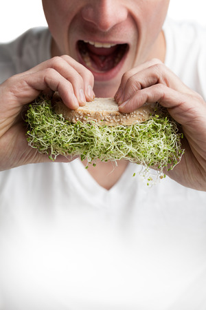 Young Adult Eating a Sandwich Full of Alfalfa Sprouts (healthy lifestyle concept) Stock Photo