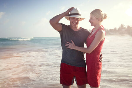 Beautiful Couple on the beach Having Fun in San Andres Island, Colombia Stok Fotoğraf