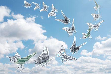 Money fly away like a butterfly