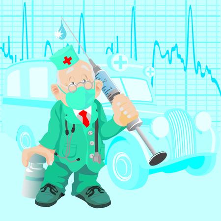 Le vieux Docteur avec un médicament et une seringue, contre la vieille voiture ambulance