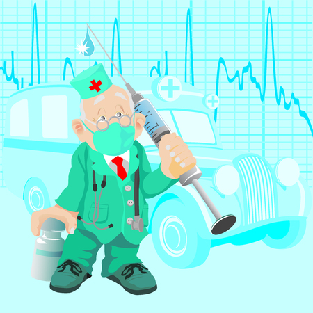 pandemic: The old doctor with a medicine and a syringe, against old ambulance car
