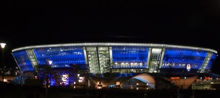 DONETSK, UKRAINE - AUGUST 29: Night view of the opening of Shakhtar Donetsk's new soccer stadium August 29, 2009 in Donetsk, Ukraine Stock Photo - 6896295