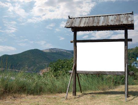 beautiful wooden billboard - ancient style Stock Photo