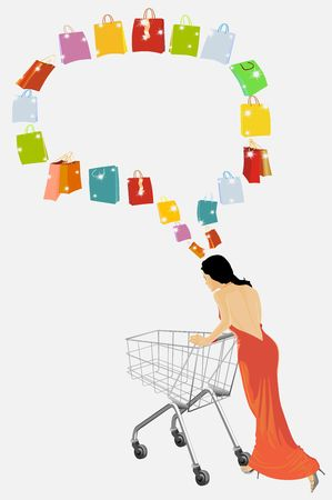 The woman plans purchases. Insert your text. photo