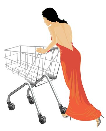 The girl in a beautiful dress in a supermarket with the empty cart. photo