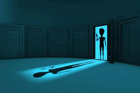welcome home: alien in the door welcomed humanity Stock Photo