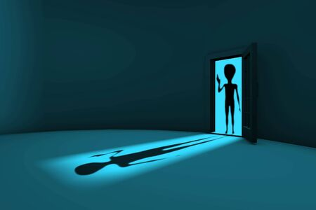 alien in the door welcomed humanity photo