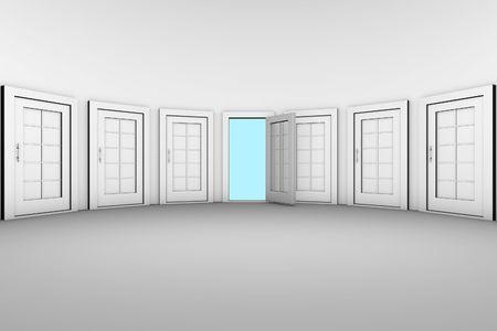 opening window: La �nica puerta abierta desde muchas puertas cerradas  Foto de archivo