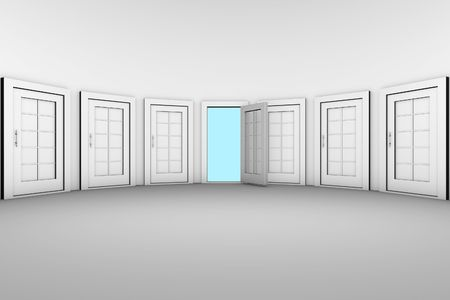 way to freedom: The only open door from many closed doors Stock Photo