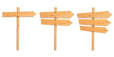 Set of Wooden signboards. Isolated on white photo