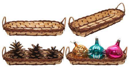 set of baskets, isolated on white photo