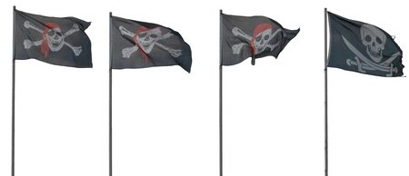 Jolly Roger flags. isolated on white Stock Photo - 6810923