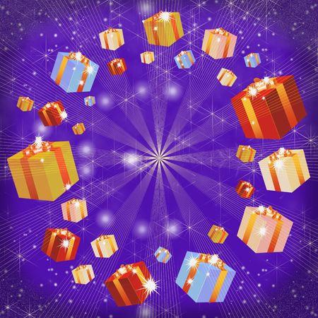 christmas background, Multi-coloured boxes with gifts. photo