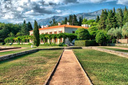 sveti: Road to the palace. Sveti Stefan - Montenegro HDRI image Stock Photo