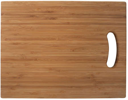 Bamboo cutting board. Isolated on white,  photo