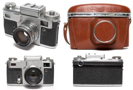 Old viewfinder photo camera. Isolated on white photo