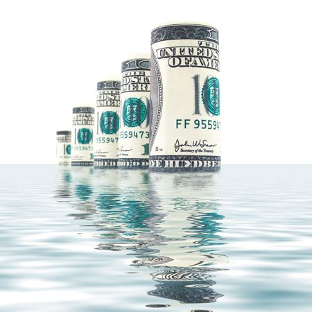 Rolls of Dollars in sea waves Stock Photo - 6838670