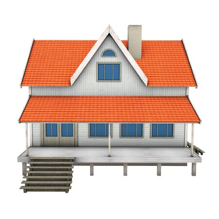 New private family house. 3d illustration, isolated on white background illustration
