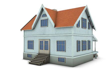 New family house. 3d illustration, isolated on white background 免版税图像