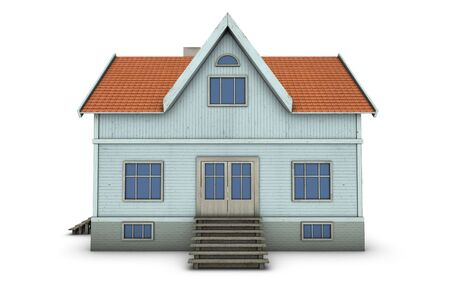 New family house. 3d illustration, isolated on white background Stock Photo