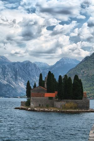 Island of the Dead. Near the town Perast in the Bay of Kotor. Montenegro. HDRI image photo