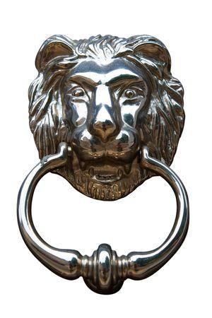 Lions head door knocker. Isolated on white, photo