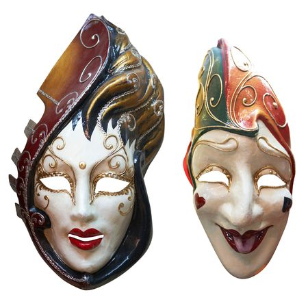 Two Venetian Masks. Isolated on white,  photo